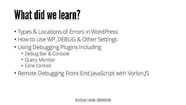 Here Be Dragons - Debugging WordPress