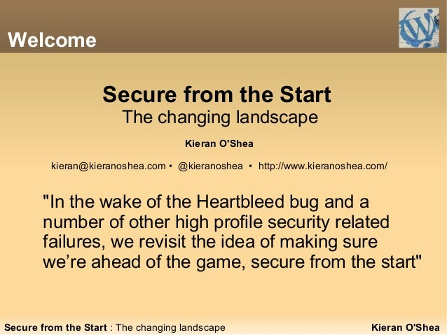 """Welcome """"In the wake of the Heartbleed bug and a number of other high profile security related failures, we revisit the id..."""