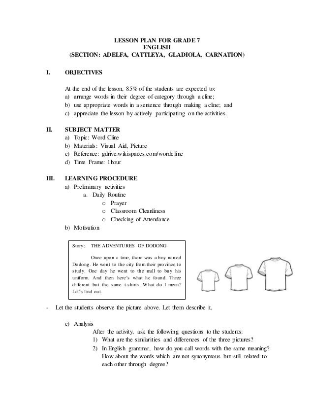 Word cline lesson plan – Lesson Plan Sample in Word