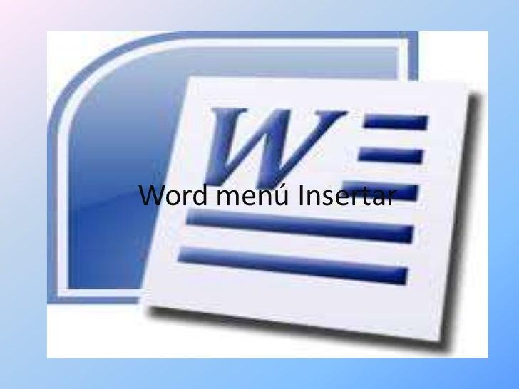 Word menú Insertar
