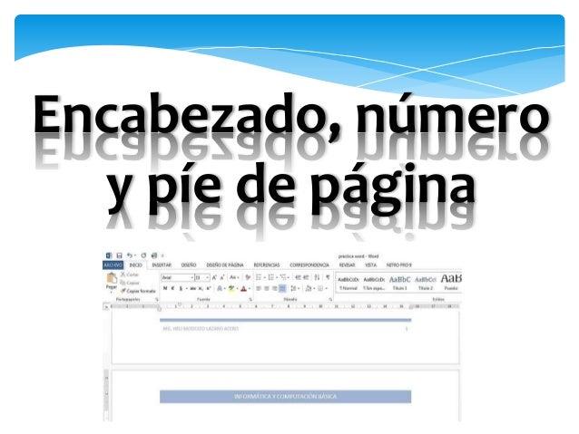 Microsoft Word: Encabezado y píe de página Slide 3