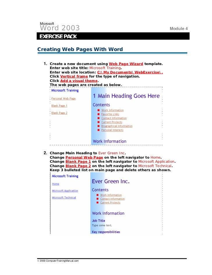 Word exercises 1 2003 computertrainingmanual 37 microsoft word maxwellsz