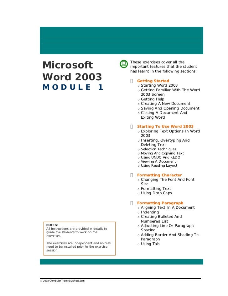 Word exercises 1 microsoft these exercises cover all the important features that the student has learnt in the following sections word 2003 getting started module 1 o ibookread ePUb