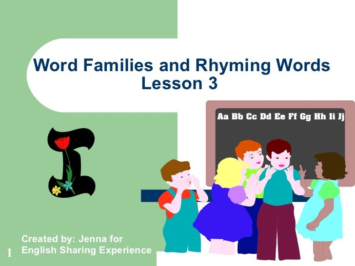 Word Families and Rhyming Words Lesson 3  Created by: Jenna for English Sharing Experience C + at = cat