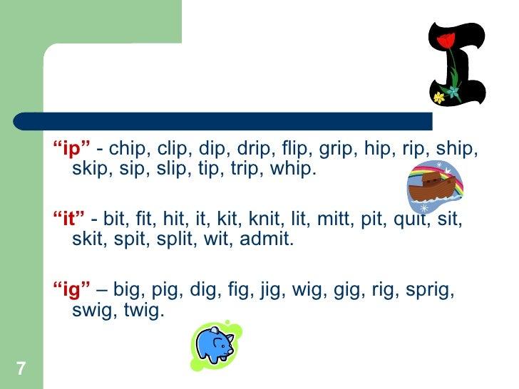 Knitting Rhyme Words : Word families rhyming words
