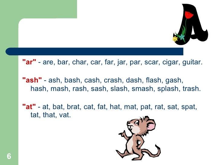 Word Families Amp Rhyming Words