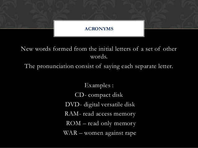 what do the letters cd rom stand for word formation 25509 | word formation 26 638