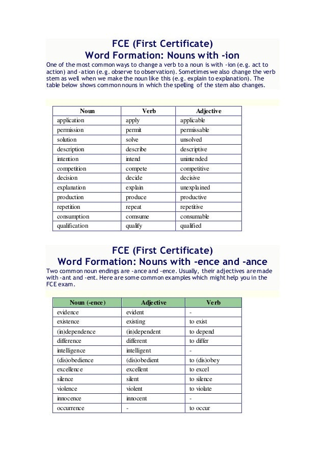 Word Formation FCE - Word formation