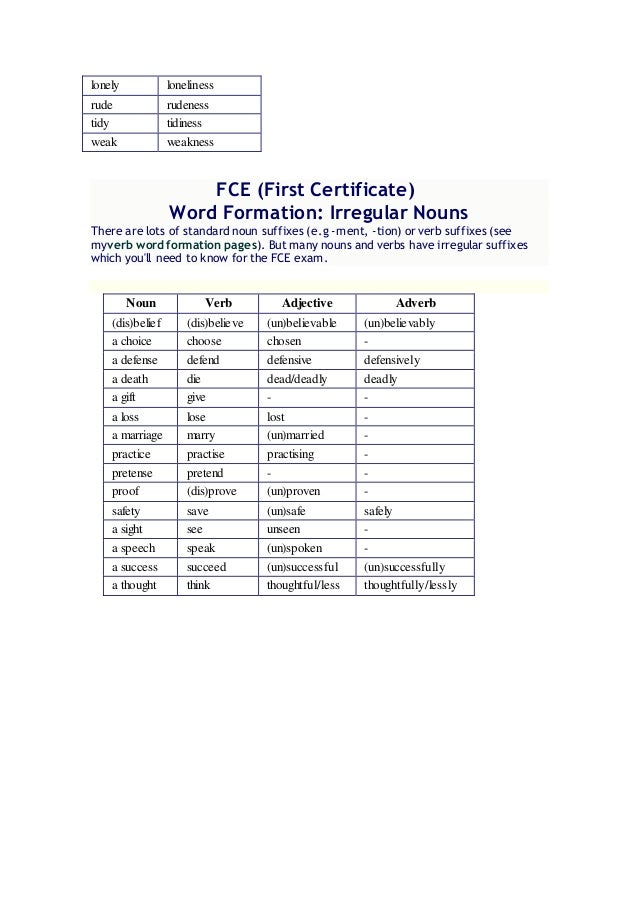 Word formation FCE