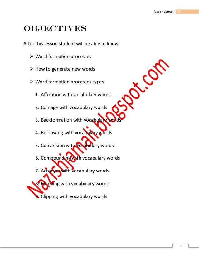Word formation process english content my assignment