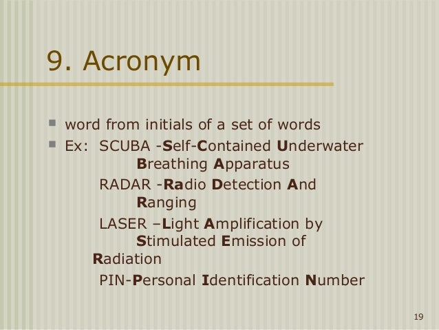 The Weak 18 19 9 Acronym Word