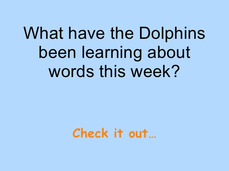What have the Dolphins been learning about words this week? Check it out…
