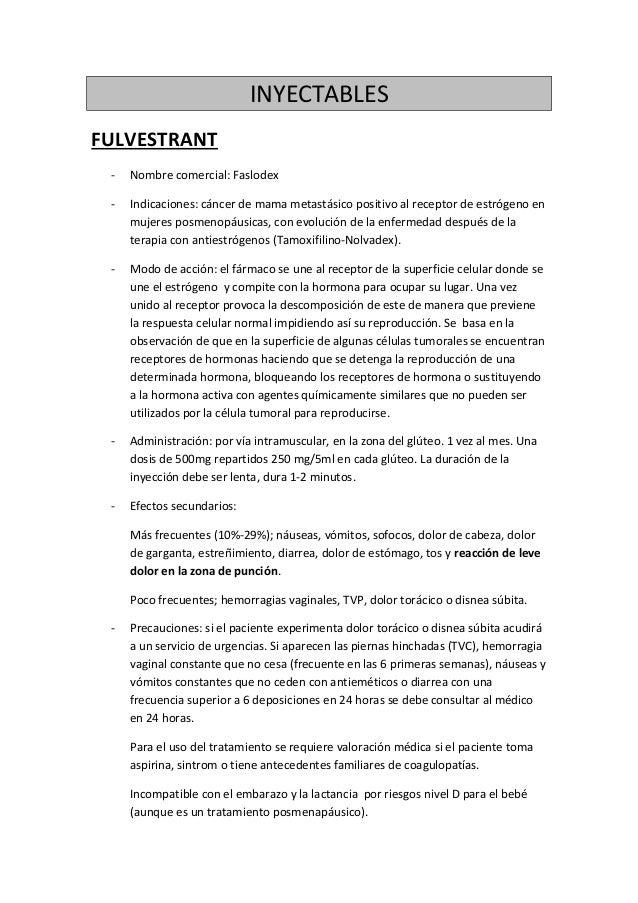 INYECTABLES FULVESTRANT - Nombre comercial: Faslodex - Indicaciones: cáncer de mama metastásico positivo al receptor de es...