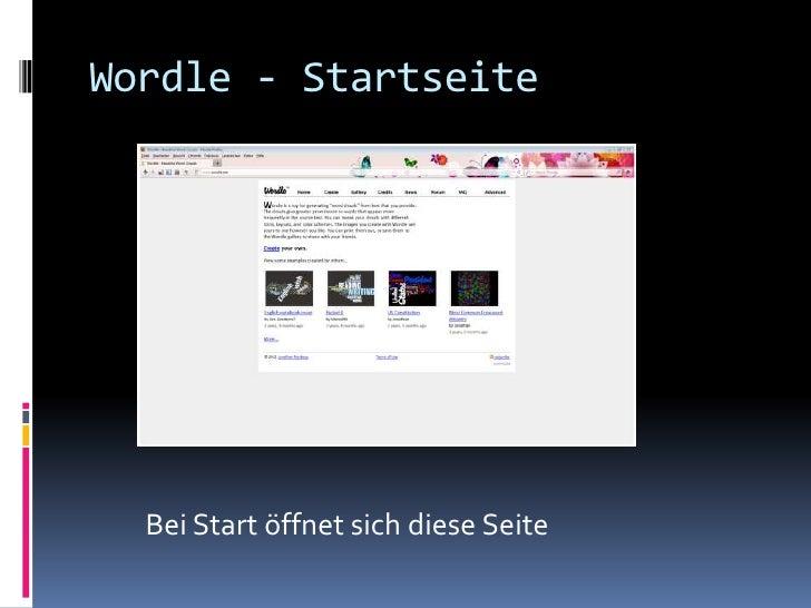 Wordle - Startseite  Bei Start öffnet sich diese Seite