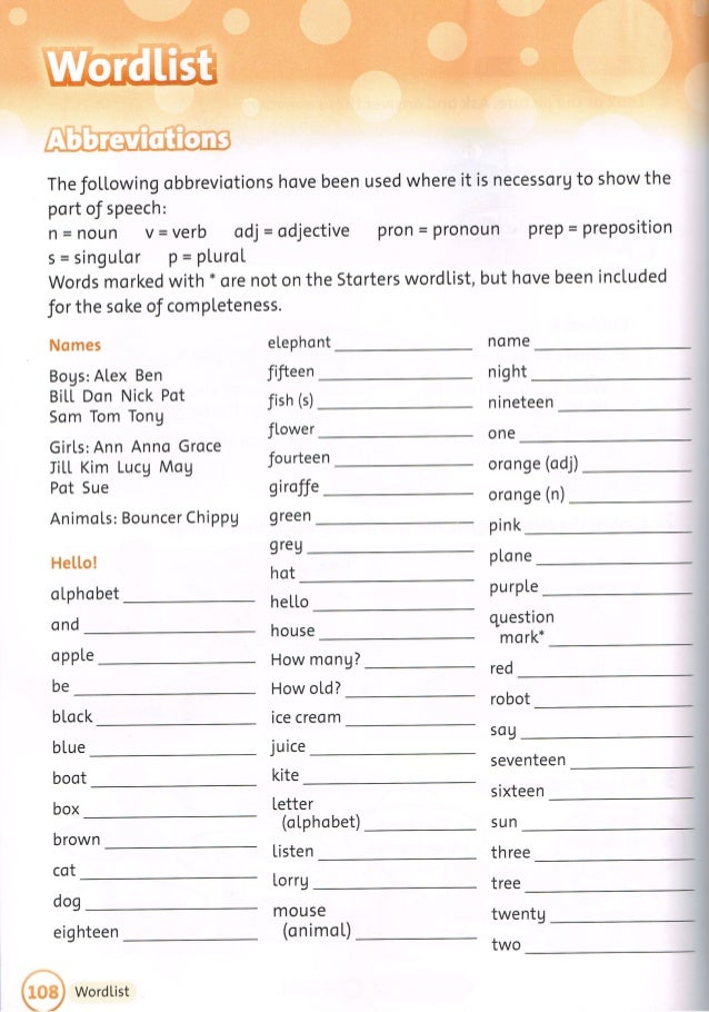 Wordlist Cambridge English Starters Yle Tests