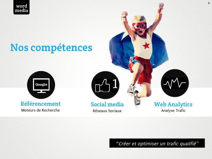 8wordmediaNos compétences  Référencement          Social media                  Web Analytics  Moteurs de Recherche   Rése...