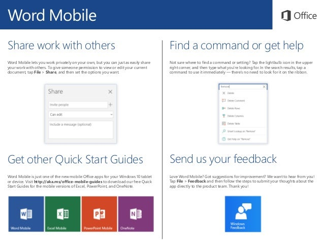 Microsoft Word Mobile Quick Start Guide