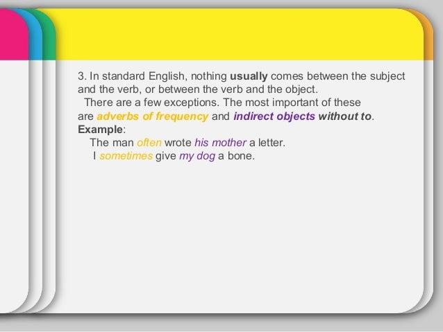 word order in declarative sentences in