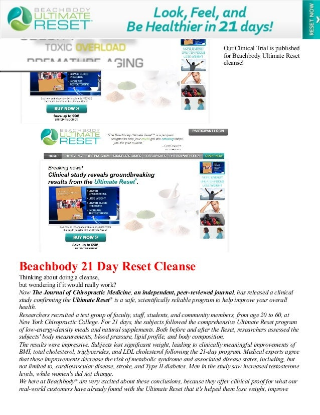 Our Clinical Trial is published for Beachbody Ultimate Reset cleanse!  Beachbody 21 Day Reset Cleanse Thinking about doing...