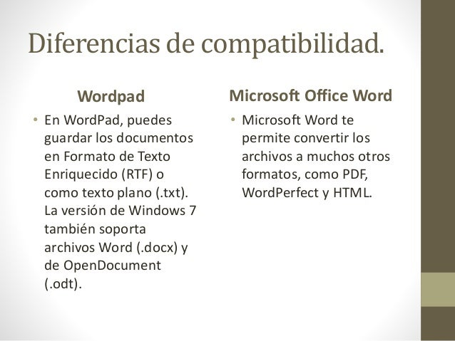 wordpad y microsoft office word