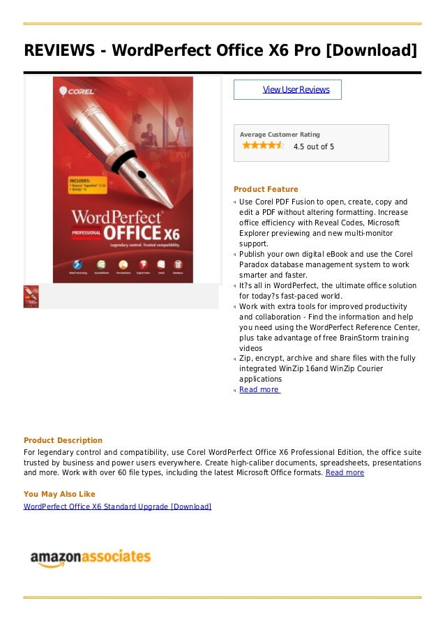 REVIEWS - WordPerfect Office X6 Pro [Download]ViewUserReviewsAverage Customer Rating4.5 out of 5Product FeatureUse Corel P...