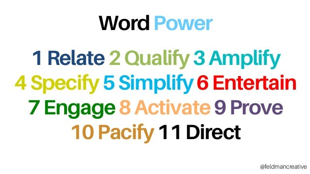 WordPower 1Relate2Qualify3Amplify 4Specify5Simplify6Entertain 7Engage8Activate9Prove 10Pacify11Direct @feldmancreative