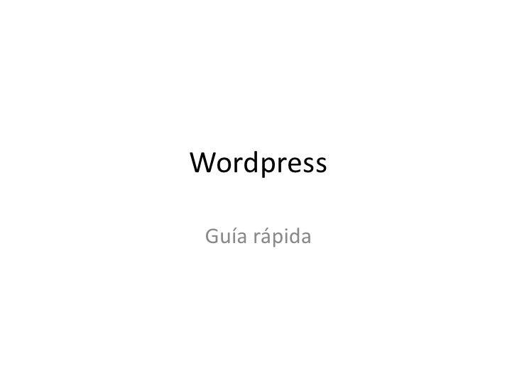 Wordpress Guía rápida
