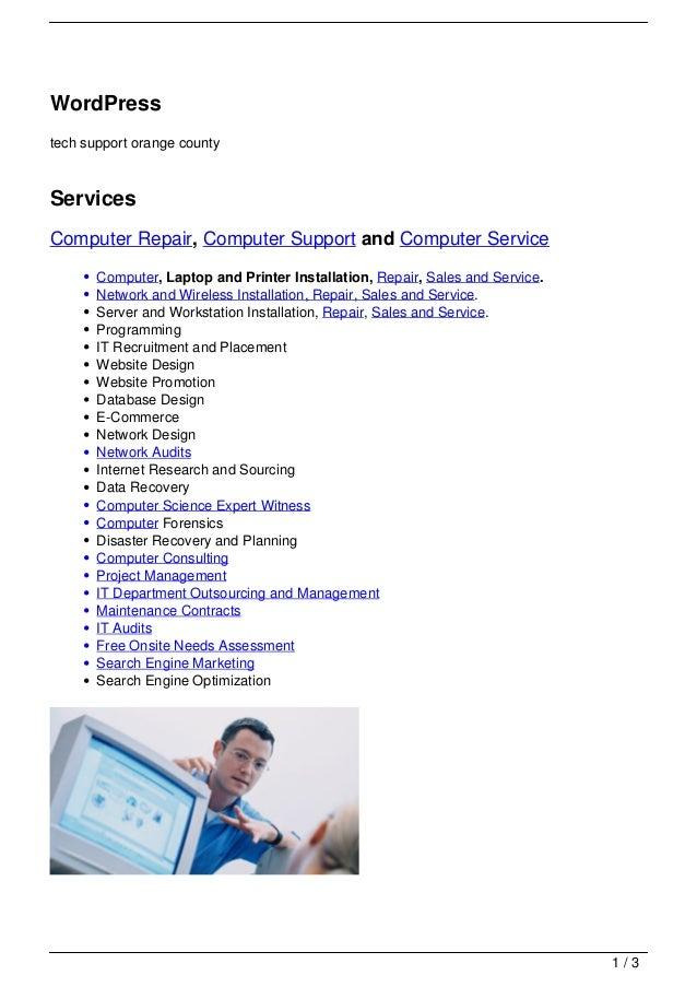 WordPresstech support orange countyServicesComputer Repair, Computer Support and Computer Service       Computer, Laptop a...