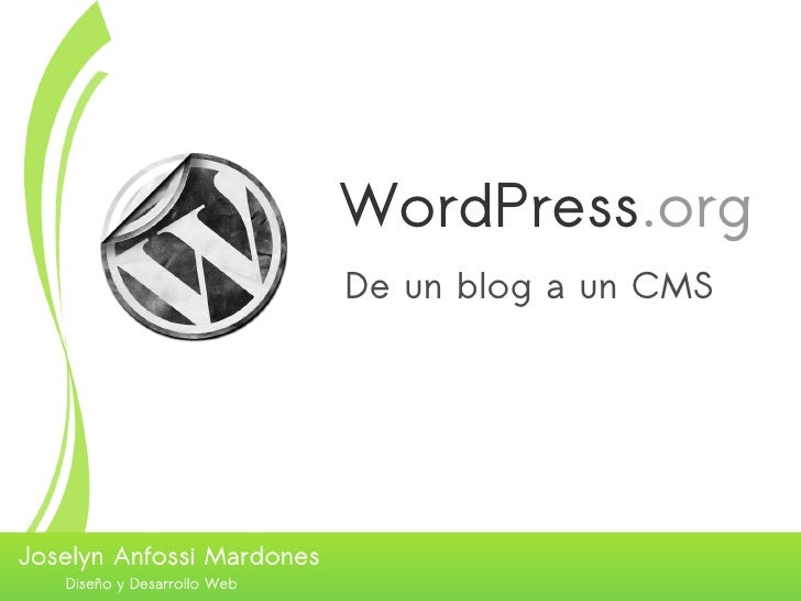 WordPress.org De un blog a un CMS