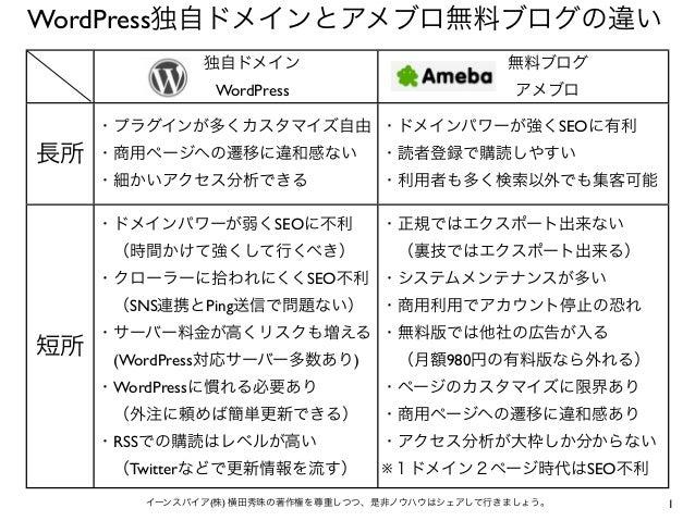 WordPress独自ドメインとアメブロ無料ブログの違い           独自ドメイン                        無料ブログ             WordPress                   ...