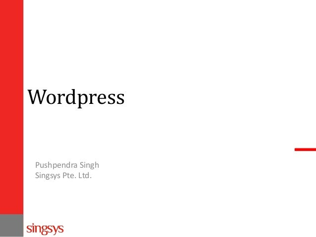 Wordpress Pushpendra Singh Singsys Pte. Ltd.