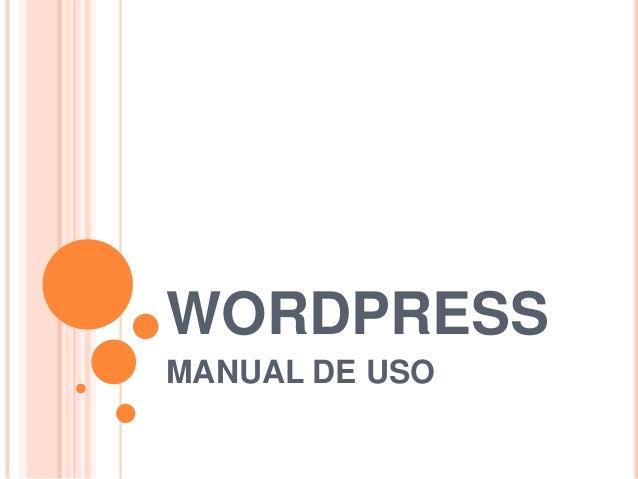 WORDPRESS MANUAL DE USO