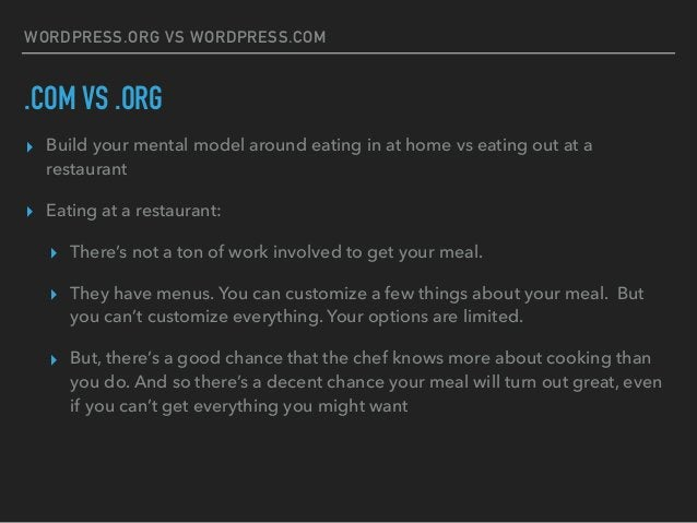 WORDPRESS.ORG VS WORDPRESS.COM .COM VS .ORG ▸ Build your mental model around eating in at home vs eating out at a restaura...