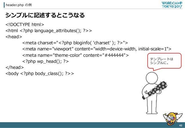 "header.php の例例 42   シンプルに記述するとこうなる <!DOCTYPE html> <html <?php language_̲attributes(); ?>> <head> <meta charset=""<..."