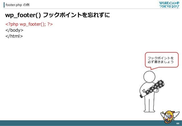 footer.php の例例 44   wp_̲footer() フックポイントを忘れずに <?php wp_̲footer(); ?> </body> </html> フックポイントを 必ず書きましょう