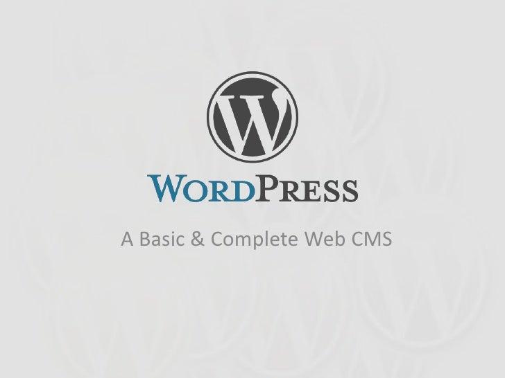 A Basic & Complete Web CMS