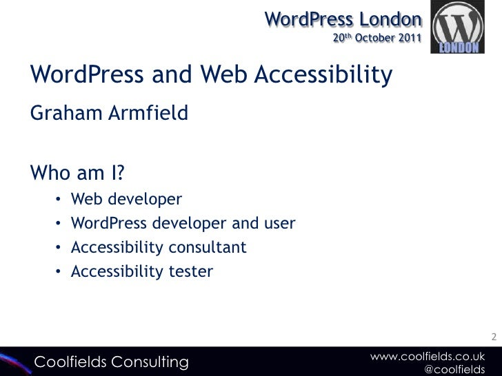 WordPress and Web Accessibility: Why it's Important Slide 2