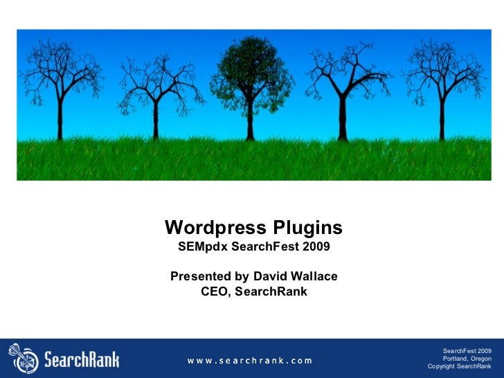 Wordpress Plugins SEMpdx SearchFest 2009 Presented by David Wallace CEO, SearchRank w w w . s e a r c h r a n k . c o m Se...