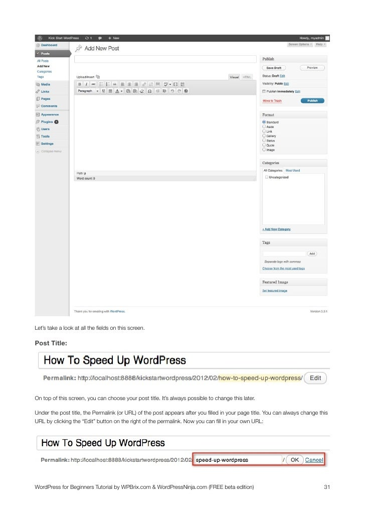 wordpress tutorial for beginners pdf