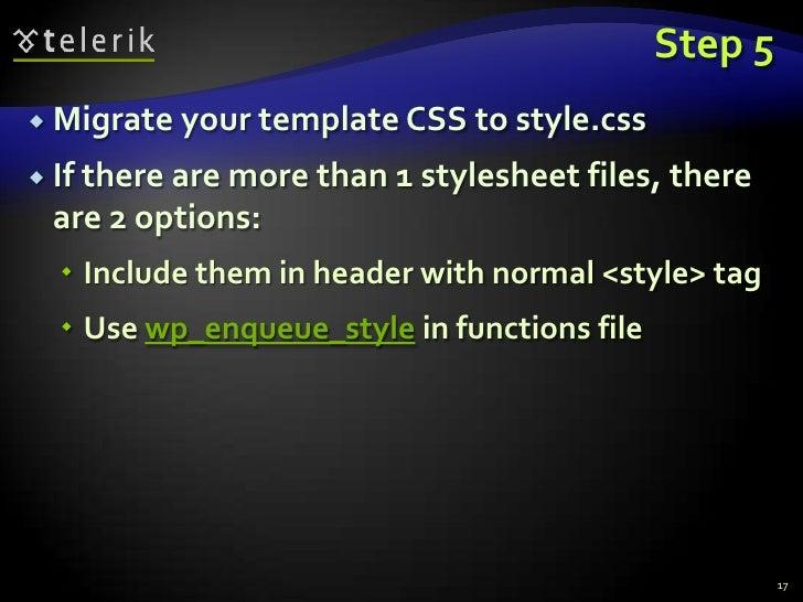 Build a WordPress theme from HTML5 template @ Telerik