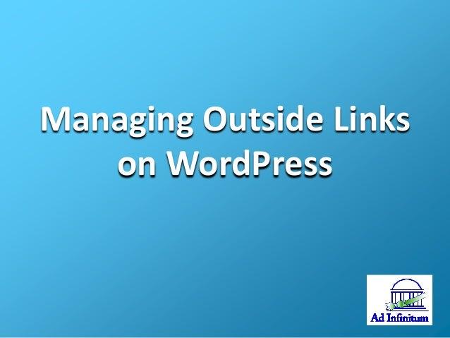 Managing Outside Links on WordPress