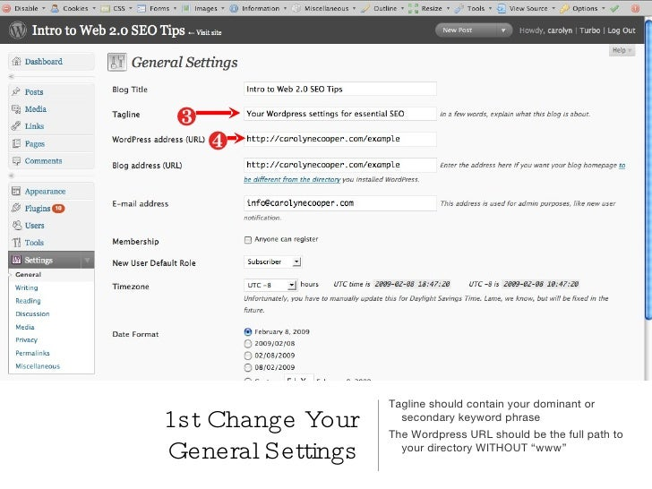 Wordpress Optimization Settings slideshare - 웹