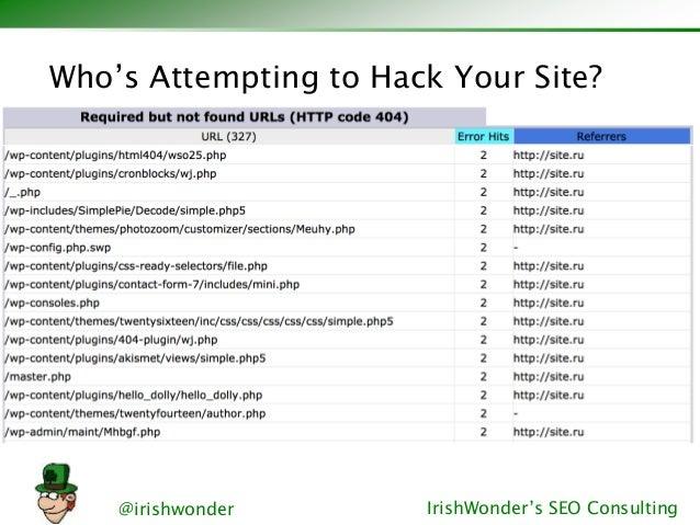 @irishwonder IrishWonder's SEO Consulting Who's Attempting to Hack Your Site?