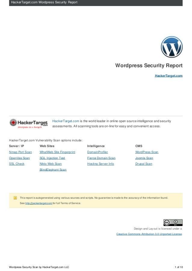 HackerTarget.com Wordpress Security Report                                                                                ...