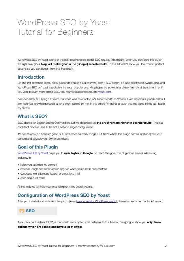 WordPress SEO by Yoast Tutorial for Beginners