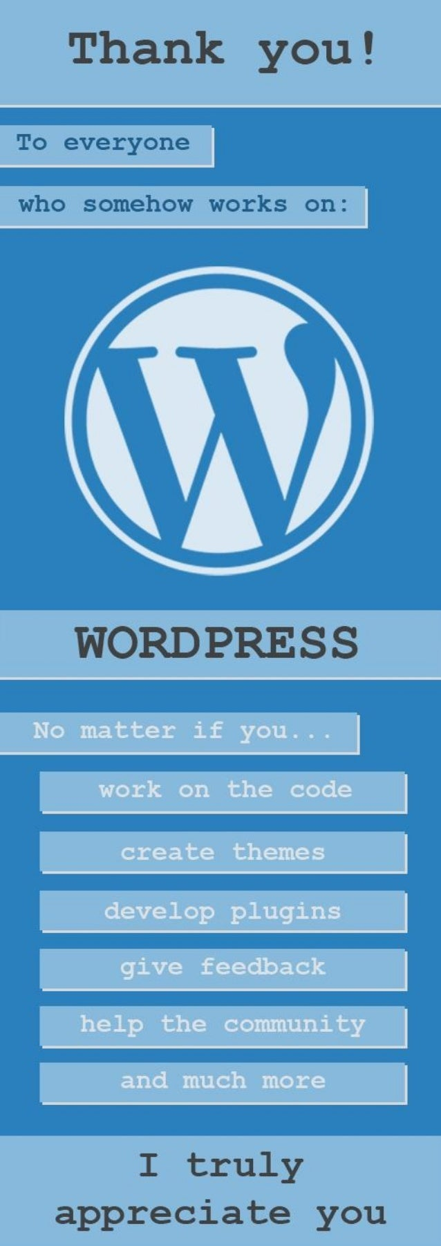 Thank you!   To everynne  whu samehow works an:   WORDPRESS  I truly appreciate you