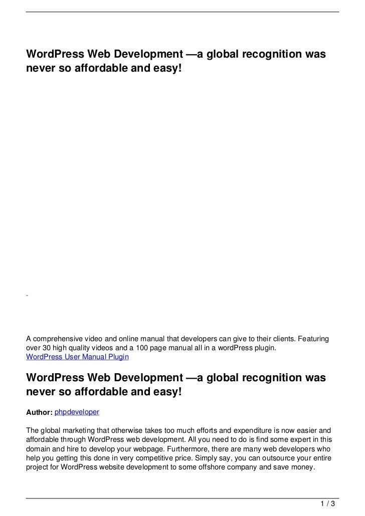 wordpress 30 manual