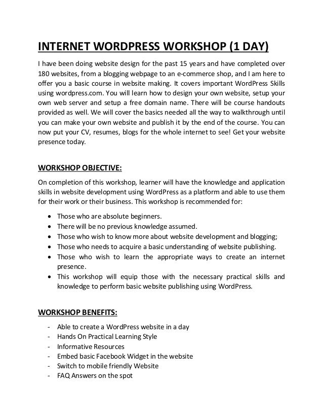 wordpress workshop outline 2018