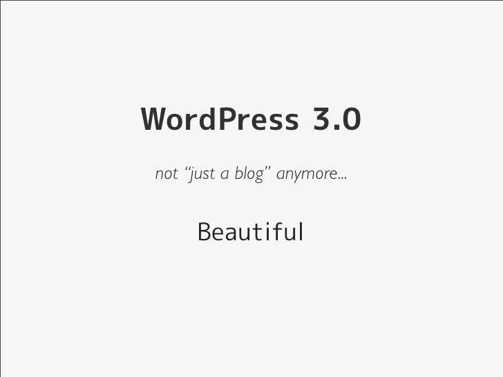 What's new in WordPress 3.0 - 웹