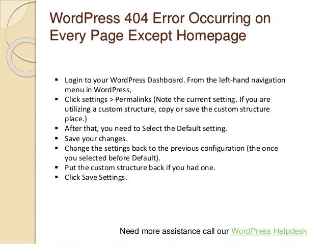 Word press 404 error support
